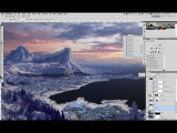 Снежный мэт пейтинг по рисованию горного пейзажа в Photoshop. Урок 4
